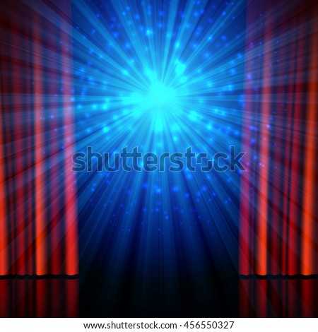Stage, spotlights and red open curtains. Theatrical, festival, cinema, stand-up comedy or another show poster design background, vector illustration. - stock vector