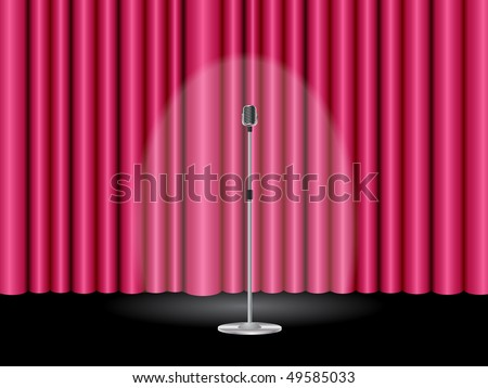Stage with a closed pink theater curtain and a microphone ready for show - stock vector