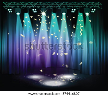 Stage with confetti, curtains and light equipment - stock vector