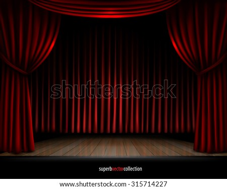 Stage with red curtains spotlights and wooden podium. High quality vector - stock vector