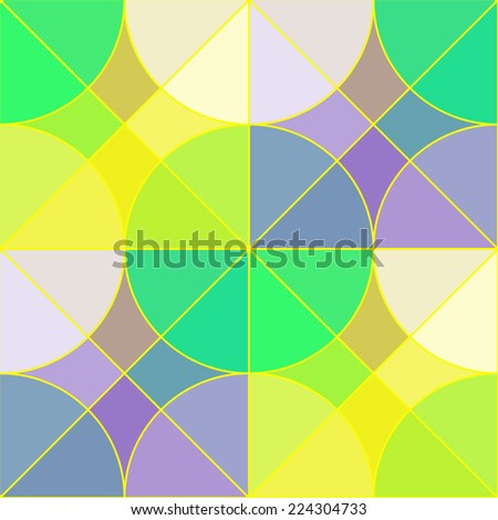 Stained glass tiles seamless pattern. Abstract geometric seamless pattern with multicolored semi transparent tiles in the shape of circles and squares looks like the stained glass, vector EPS8. - stock vector