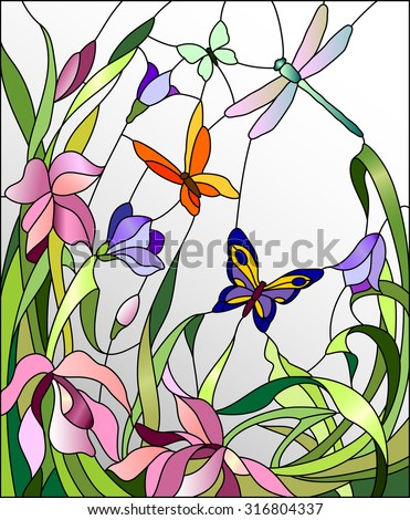 Stained glass window with flowers and butterflies - stock vector