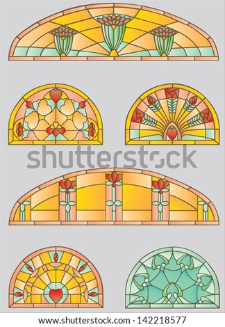 Stained-glass windows with flowers and hearts - stock vector