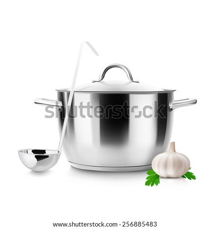 Stainless pan with ladle and garlic steel isolated on white background. Saucepan. Vector illustration. Realistic. - stock vector