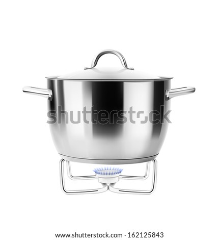 Stainless steel pot on gas burner isolated on white background. Saucepan. Sauce pot. Vector illustration. Realistic. - stock vector