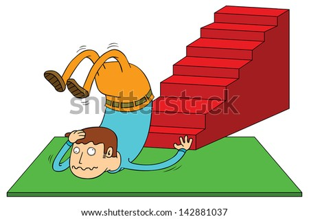 stair accident - stock vector