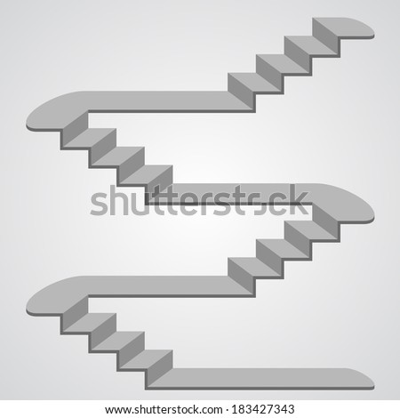 Staircase 3d. vector - stock vector