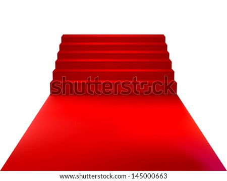 Staircase with red carpet. Vector Illustration - stock vector