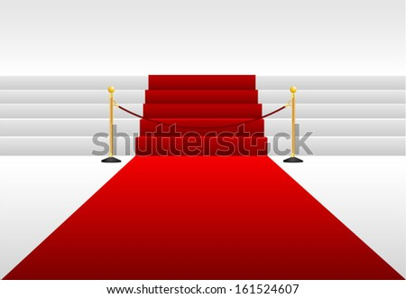 Stairs covered with red carpet - stock vector