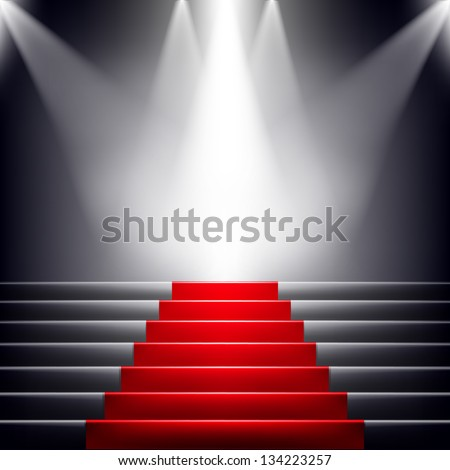 Stairs covered with red carpet. Scene illuminated by a spotlight - stock vector