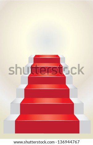 Stairs going up with red carpet over white - stock vector