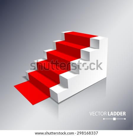 Stairs isolated on white background with red carpet. Steps. Vector illustration - stock vector
