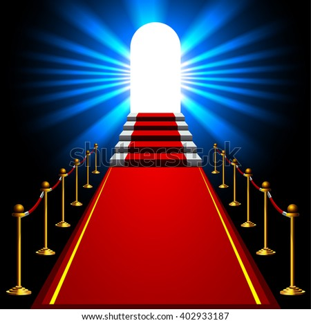 Stairs with red carpet and red ropes on golden stanchions. Exclusive event, movie premiere, gala, ceremony concept. Staircase to arch door with light - stock vector