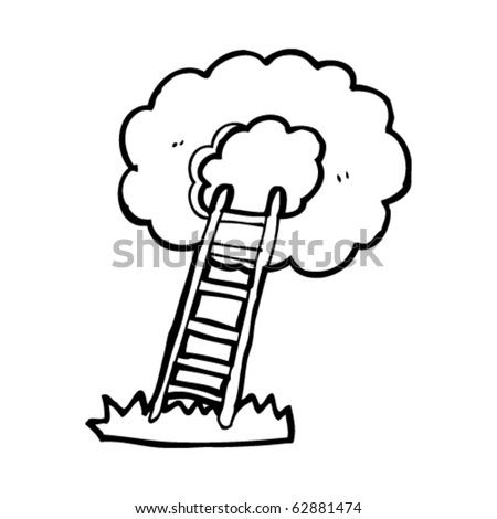 stairway to heaven cartoon - stock vector