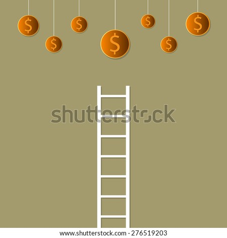 Stairway to the dollar. Business growing money concept. Vector illustration  - stock vector