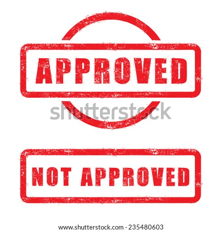 stamp approved and not approved with red text isolated on white background - stock vector