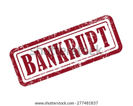 stamp bankrupt in red over white background - stock vector