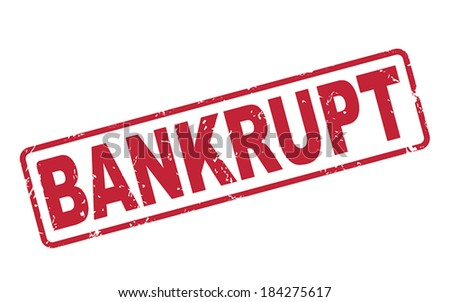 stamp bankrupt with red text over white background - stock vector