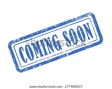 stamp coming soon in blue over white background - stock vector