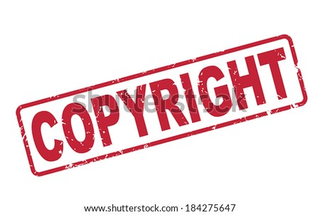 stamp copyright with red text over white background - stock vector