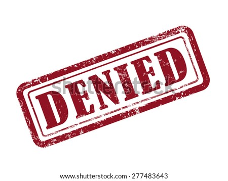 stamp denied in red over white background - stock vector