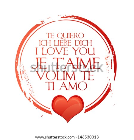 stamp i love you - stock vector