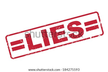 stamp lies with red text over white background - stock vector