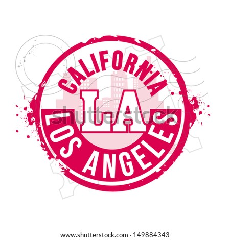 stamp Los Angeles - stock vector