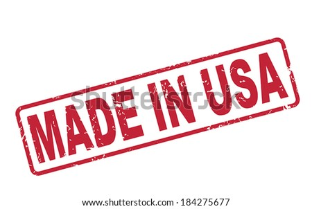 stamp made in USA with red text over white background - stock vector