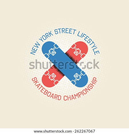Stamp of skateboard championship for typography. It is a vector print for design of your t-shirt and for use in other spheres with skateboard. - stock vector