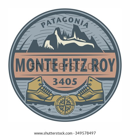 Stamp or emblem with text Monte Fitz Roy, Patagonia, vector illustration - stock vector