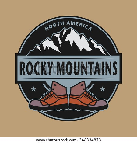 Stamp or emblem with text Rocky Mountains, North America, vector illustration - stock vector