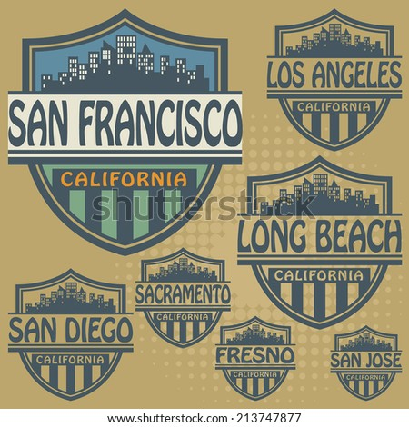 Stamp or label set with names of California cities, vector illustration - stock vector