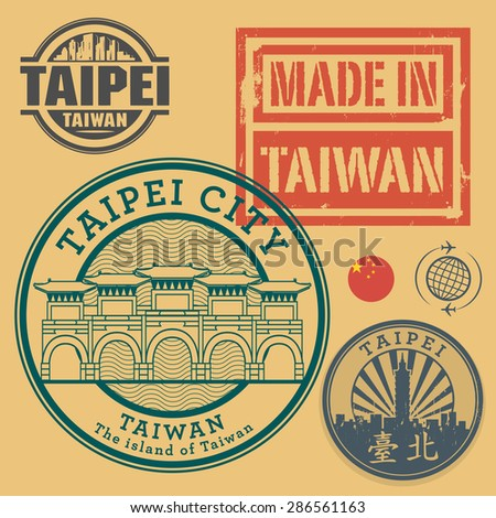 Stamp or label set with text Taipei, Taiwan (in chinese language too), inside, vector illustration - stock vector