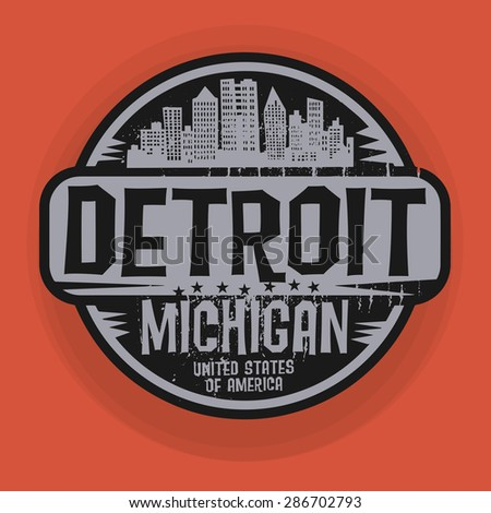 Stamp or label with name of Detroit, Michigan, vector illustration - stock vector