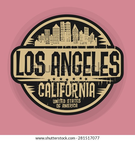Stamp or label with name of Los Angeles, California, vector illustration - stock vector