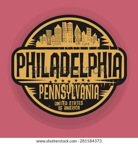 Stamp or label with name of Philadelphia, Pennsylvania, vector illustration - stock vector