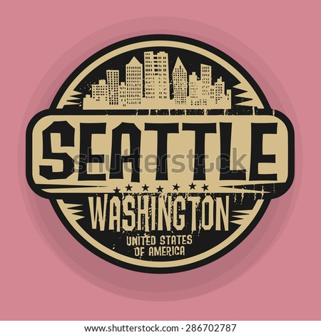 Stamp or label with name of Seattle, Washington, vector illustration - stock vector