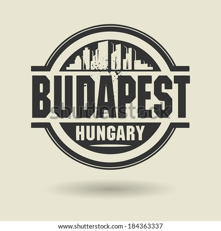 Stamp or label with text Budapest, Hungary inside, vector illustration - stock vector