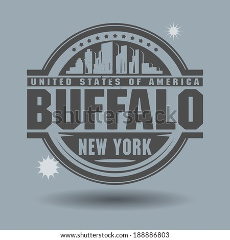 Stamp or label with text Buffalo, New York inside, vector illustration - stock vector