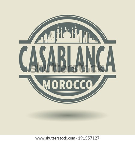 Stamp or label with text Casablanca, Morocco inside, vector illustration - stock vector