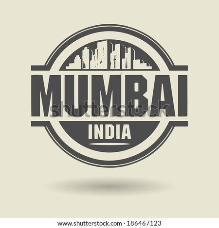 Stamp or label with text Mumbai, India inside, vector illustration - stock vector
