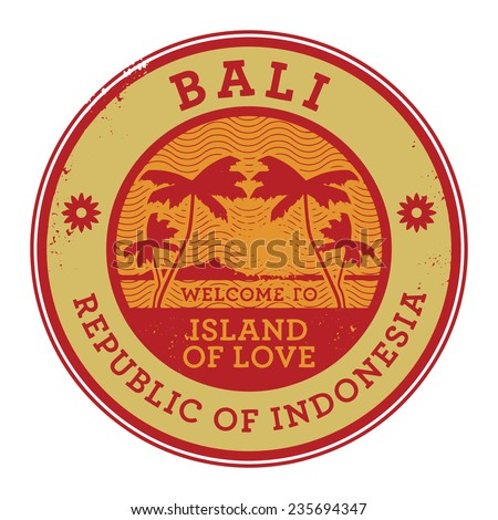 Stamp or label with the name of Bali Island, vector illustration - stock vector