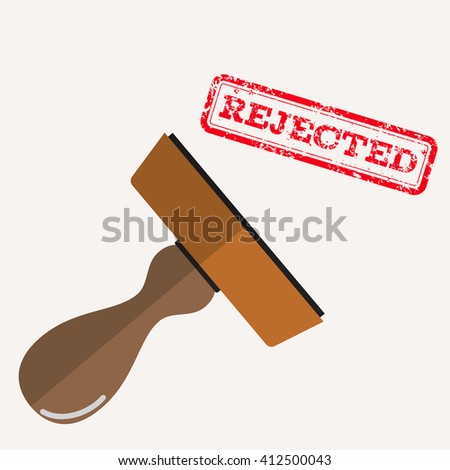 stamp rejected with red text over white background.  vector illustration in flat design - stock vector