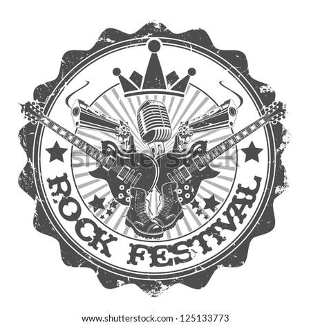 Stamp rock festival. Vector illustration. - stock vector