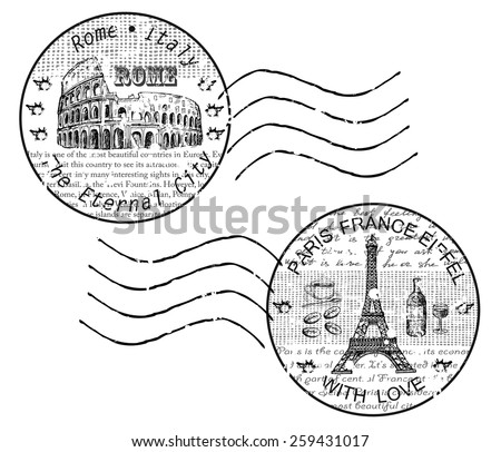 stamp rome paris - stock vector