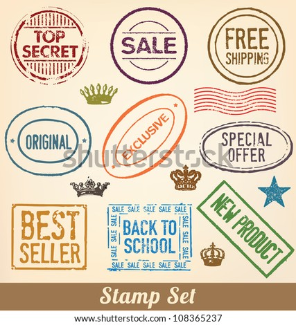 Stamp Set - Collection of detailed merchandise stamps for your product or business - stock vector