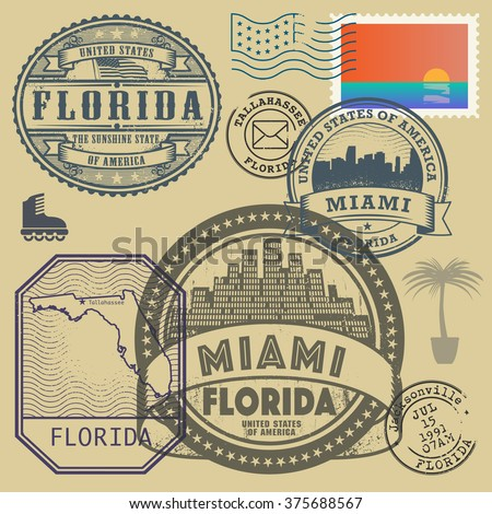 Stamp set with the name and map of Florida, United States, vector illustration - stock vector