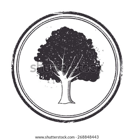 Stamp with a tree, vector illustrations - stock vector