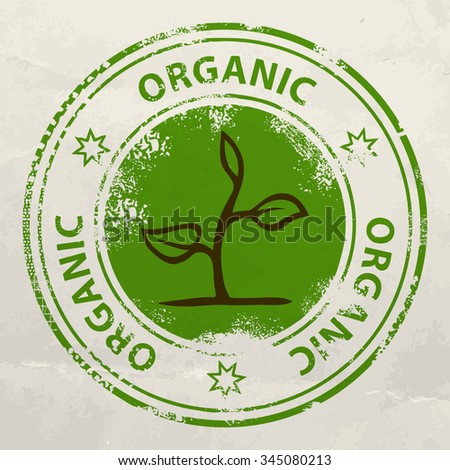 Stamp with plant and text organic - stock vector